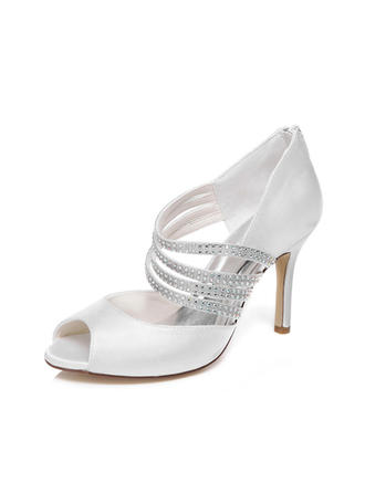 Women's Peep Toe Sandals Stiletto Heel Satin With Rhinestone Wedding Shoes