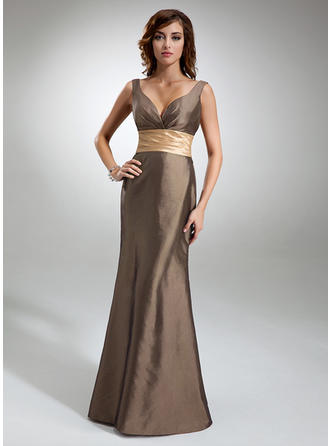 Taffeta Sleeveless Trumpet/Mermaid Bridesmaid Dresses V-neck Ruffle Sash Floor-Length