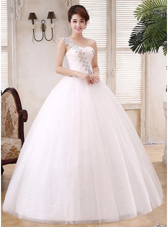 Ball-Gown One Shoulder Floor-Length Wedding Dress With Beading Appliques Lace Sequins