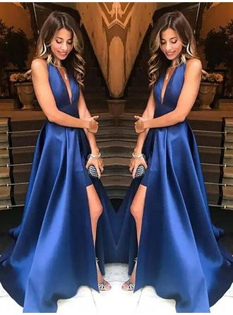 Modern Satin Prom Dresses A-Line/Princess Sweep Train Deep V Neck V Sleeveless
