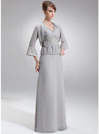 A-Linie/Princess-Linie V-Ausschnitt Chiffon Ärmellos Bodenlang Rüschen Spitze Perlstickerei Pailletten Kleider für die Brautmutter (008006214)