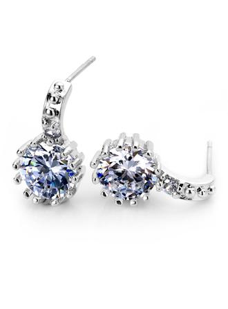 Earrings Zircon/Platinum Plated Pierced Ladies' Beautiful Wedding & Party Jewelry
