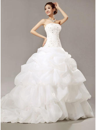 Sleeveless Organza Ruffle Lace Beading Sequins Flattering Wedding Dresses
