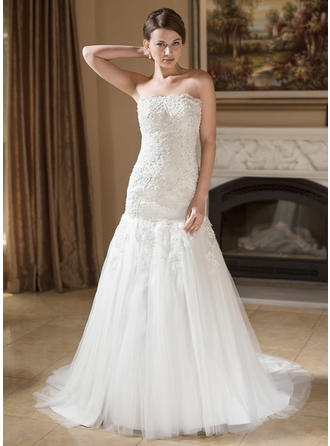 Delicate Court Train Trumpet/Mermaid Wedding Dresses Strapless Tulle Sleeveless