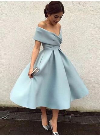 A-Line/Princess Off-the-Shoulder Short Sleeves Tea-Length Ruffle Homecoming Dresses