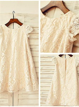 Scoop Neck A-Line/Princess Flower Girl Dresses Lace Pleated Short Sleeves Tea-length