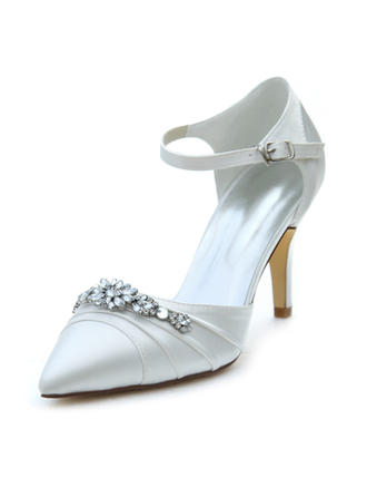 Women's Closed Toe Pumps Stiletto Heel Silk Like Satin No Wedding Shoes