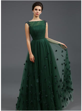 A-Line/Princess Scoop Neck Floor-Length Evening Dress With Beading Flower(s) Pleated (017196797)