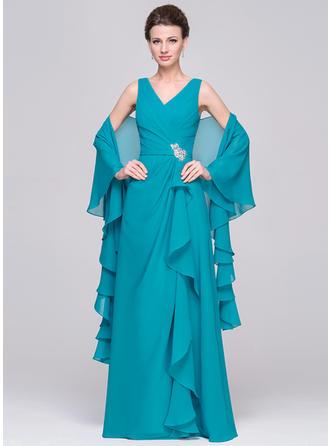 A-Linie/Princess-Linie Chiffon Ärmellos V-Ausschnitt Bodenlang Reißverschluss Stoffbezogene Knöpfe Kleider für die Brautmutter