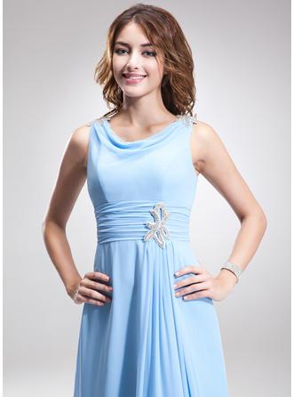 A-Linie/Princess-Linie Wasserfallausschnitt Chiffon Ärmellos Knöchellang Rüschen Perlstickerei Kleider für die Brautmutter (008211035)