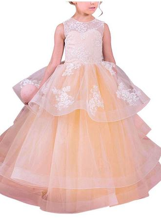 Scoop Neck Ball Gown Flower Girl Dresses Organza Appliques Sleeveless Floor-length