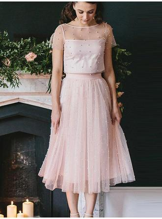A-Line/Princess Tea-Length Homecoming Dresses Scoop Neck Tulle Short Sleeves