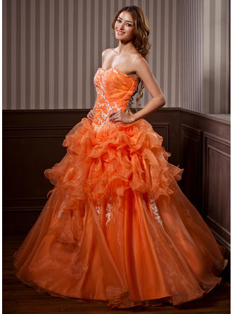Ball-Gown Sweetheart Floor-Length Organza Prom Dress With Appliques Lace Cascading Ruffles