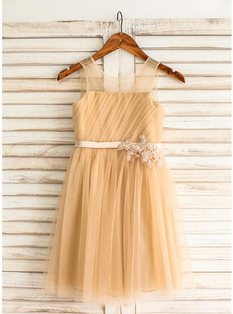 Tulle A-Line/Princess Appliques/Pleated/V Back Princess Flower Girl Dresses