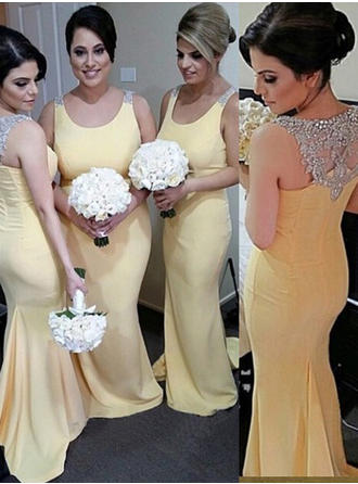 Satin Sleeveless Trumpet/Mermaid Bridesmaid Dresses Scoop Neck Beading Sequins Sweep Train