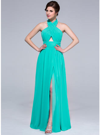 A-Line/Princess Halter Floor-Length Chiffon Prom Dress With Ruffle Split Front