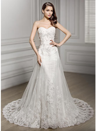 Flattering Cathedral Train Trumpet/Mermaid Wedding Dresses Sweetheart Tulle Lace Sleeveless