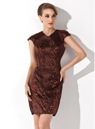 Glamorous Sheath/Column Charmeuse Cocktail Dresses