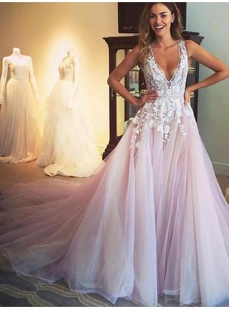 Fashion Tulle Prom Dresses A-Line/Princess Sweep Train V-neck Sleeveless