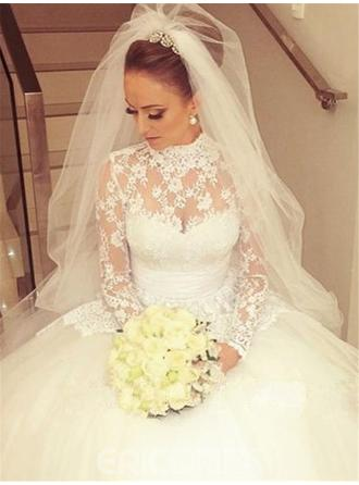Glamorous Cathedral Train Ball-Gown Wedding Dresses High Neck Lace Long Sleeves