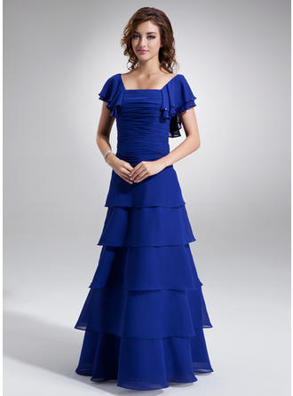A-Line/Princess Square Neckline Floor-Length Mother of the Bride Dresses With Ruffle Beading Cascading Ruffles