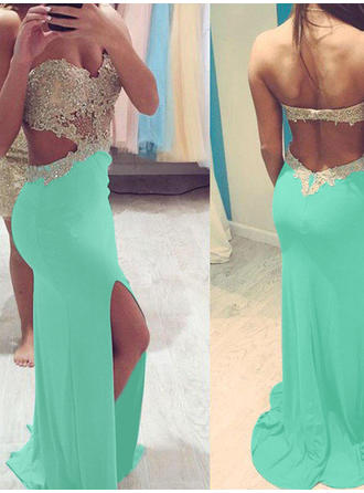 Jersey Sleeveless Sheath/Column Prom Dresses Sweetheart Beading Sweep Train
