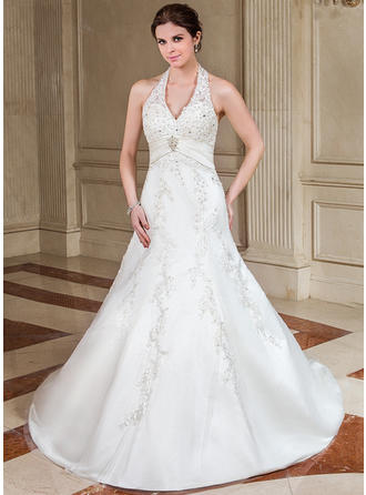 Forme Princesse Dos nu Traîne mi-longue Satiné Robe de mariée avec Plissé Dentelle Emperler