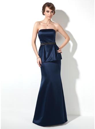 Trumpet/Mermaid Strapless Floor-Length Satin Prom Dress With Ruffle Sash