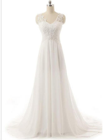A-Line/Princess V-neck Sweep Train Wedding Dress With Lace Beading Appliques Lace
