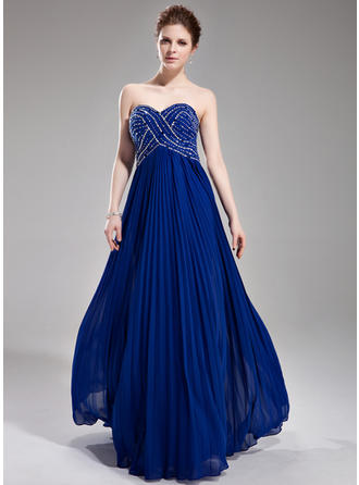 A-Line/Princess Sleeveless Beading Sequins Pleated Chiffon Prom Dresses
