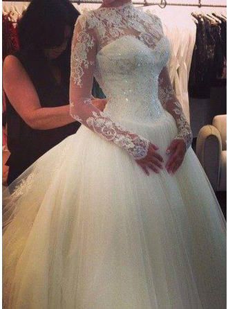 Glamorous Cathedral Train Ball-Gown Wedding Dresses High Neck Tulle Long Sleeves