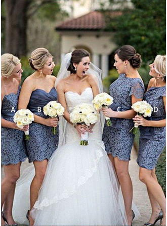 Sheath/Column Short/Mini Sweetheart Sleeveless Lace Bridesmaid Dresses