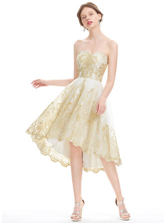 A-Line/Princess Sweetheart Tulle Lace Sleeveless Asymmetrical Homecoming Dresses