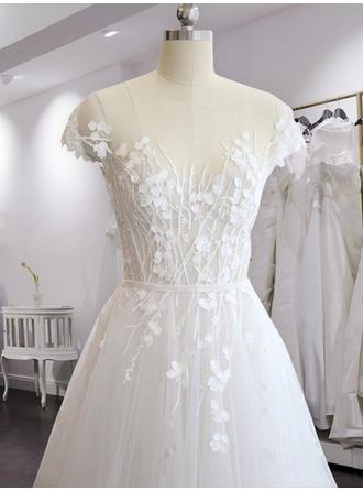 Scoop A-Line/Princess Wedding Dresses Tulle Appliques Lace Short Sleeves Sweep Train