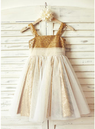 Modern Knee-length A-Line/Princess Flower Girl Dresses Straps Tulle/Sequined Sleeveless