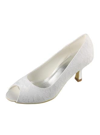 Femmes À bout ouvert Sandales Talon bobine Dentelle Satiné Chaussures de mariage