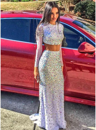 Sequined Long Sleeves Trumpet/Mermaid Prom Dresses Scoop Neck Sweep Train
