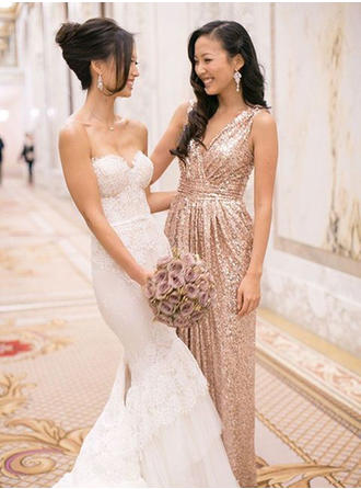 Princess A-Line/Princess V-neck Sequined Bridesmaid Dresses