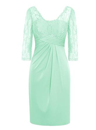 Sheath/Column Chiffon 3/4 Sleeves V-neck Knee-Length Zipper Up Mother of the Bride Dresses