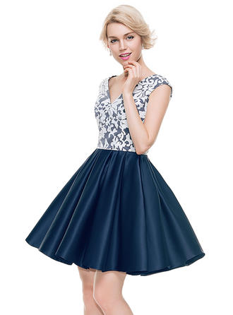 Satin Cap Straps A-Line/Princess V-neck Homecoming Dresses
