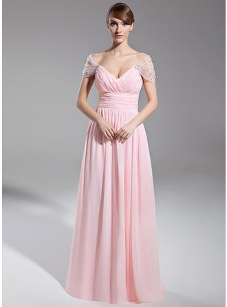 A-Line/Princess Off-the-Shoulder Floor-Length Chiffon Evening Dress With Ruffle Beading