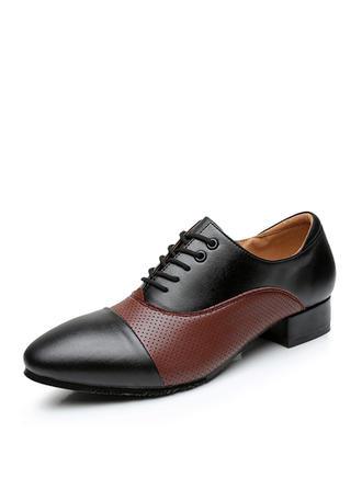 Herren Ballsaal Flache Schuhe Echtleder mit Zuschnüren Tanzschuhe