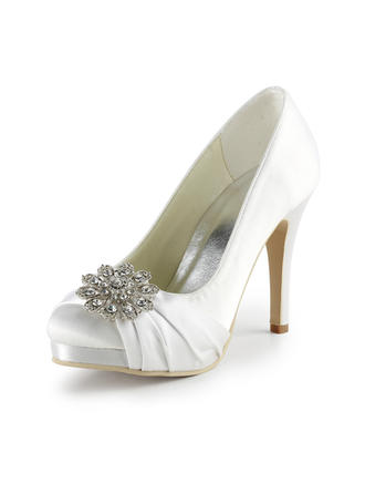 Women's Closed Toe Platform Pumps Cone Heel Satin With Rhinestone Wedding Shoes