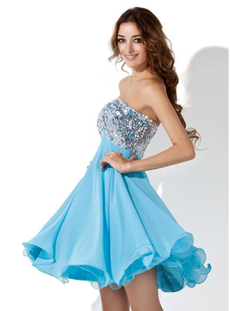 Empire Sweetheart Knee-Length Chiffon Sequined Homecoming Dresses With Beading