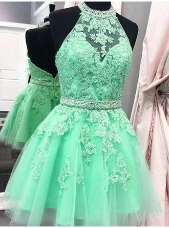 A-Line/Princess Halter Short/Mini Homecoming Dresses With Sash Appliques Lace