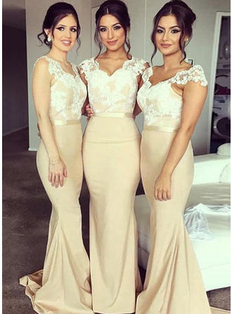Trumpet/Mermaid V-neck Sweep Train Lace Jersey Bridesmaid Dress