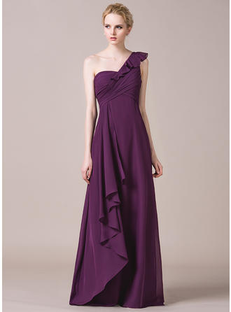 Chiffon Sleeveless A-Line/Princess Bridesmaid Dresses One-Shoulder Cascading Ruffles Floor-Length