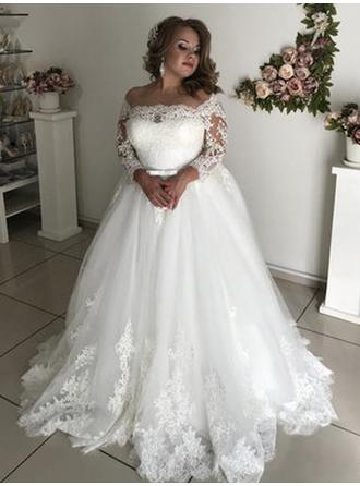 A-Line/Princess Off-The-Shoulder Sweep Train Wedding Dresses With Lace Sash Bow(s)
