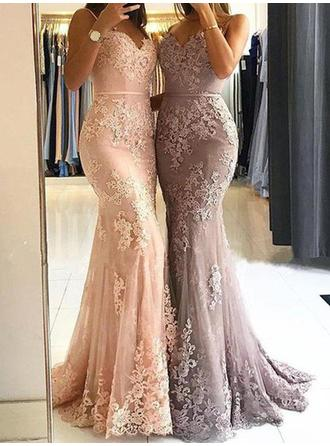 Tulle Sleeveless Sheath/Column Prom Dresses Sweetheart Appliques Lace Sweep Train