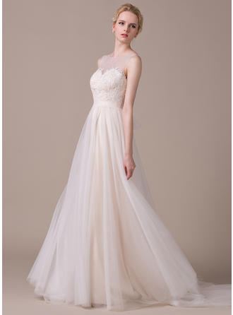 Magnificent Court Train A-Line/Princess Wedding Dresses Scoop Tulle Sleeveless